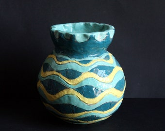 Flower vase of Turquoise, Aquamarine and yellow.