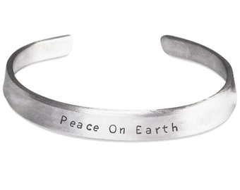 Peace On Earth 100% Aluminum Stamped Bracelet- All Is Calm Option, Christmas Jewelry, Holiday Jewelry, Christmas Bracelet, Gift for Her