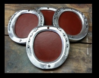 Handmade Round Leather and Aluminum Horseshoe Coasters With Stand