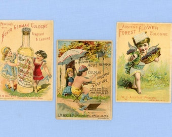 Three Perfume Trade Cards, Austen's Forest Flower, Hoyt's German Cologne, 1880s