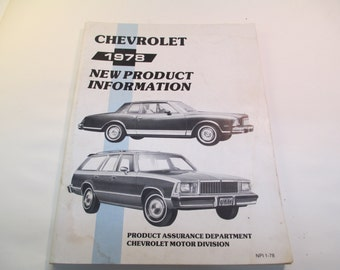 1978 Chevrolet New Product Information Book