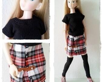 Momoko Outfit / Top Skirt Legwarmers Set / Momoko Barbie Clothes