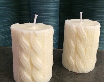 Cable Knit Pillar Candle