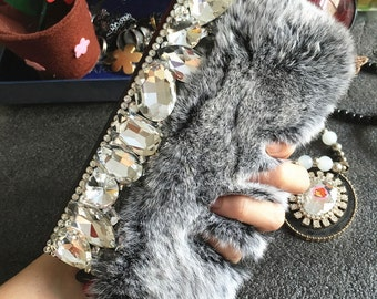 Bling Fluffy Fur Furry Slot Cards Holder Wallet Leather Luxury Lovely Fashion Crystals Rhinestones Diamonds Gems Cover Case for Mobile Phone
