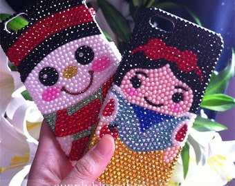 Lovely Shining Girly Snowman Mermaid Sparkles Bling Colorized Gems Crystals Rhinestones Diamonds Pearls Hard Cover Case for Mobile Phones
