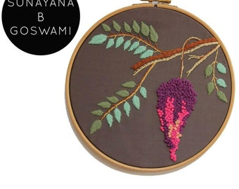 Embroidery Hoop Art, Hand-embroidered Flower on Grey Silk, Handmade,Embroidered Wall Art, Wall Hanging, Wisteria, Hydrangea, Hyacinth