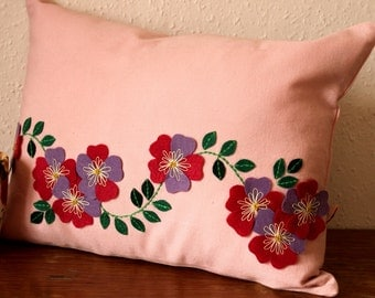 Handmade Applique Cushions, Embroidered Cushions, Floral Cushions, Primrose Cushion, Applique pillow, Flower applique cushion, Pink Cushion