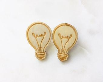 Light BULB - pin, plug, PIN, clips, wood, laser, light, icon, Emoji, humor, gift, Christmas, handmade, modern, fun, intelligence