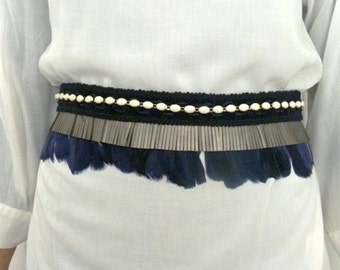 Boho hippie blue & silver sash belt, beads, feathers and fringe. Pregnancy belt