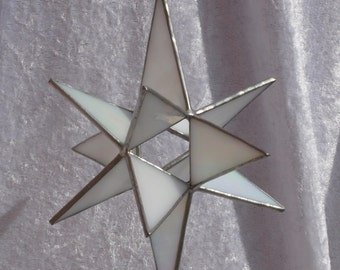 Stunning 12 point 3D stained glass Moravian star in white opal glass