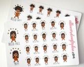 Kawaii Black Hair Fall Planner Stickers