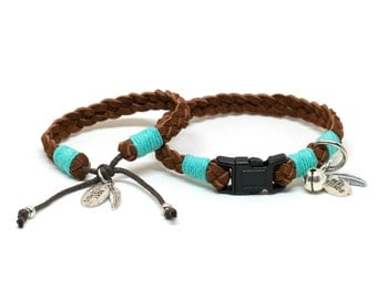Best Friend Collar and Bracelet Set in Warm Brown Braided Suede Leather