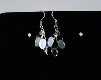Glass cluster earrings - sea green earrings - dangle cluster earrings - glass dangle earrings - ocean green glass earrings - clipon earrings