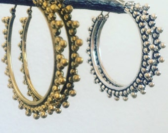Tribal hoop earring, dot detail earrings, tribal earrings, boho earrings, brass earrings, gold earrings, gypsy earrings, silver earrings.