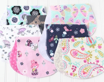 Baby Girl Burp Cloths - Set of 7