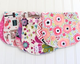 Baby Girl Burp Cloths - Set of 3