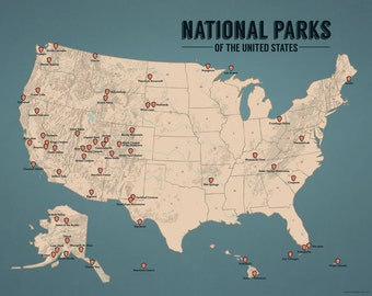 US National Parks Map 11x14 Print