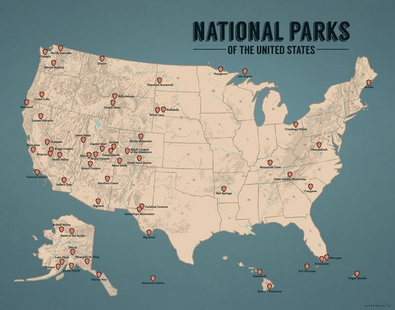 US National Parks Map 11x14 Print by BestMapsEver on Etsy