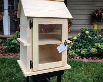 Unfinished Handcrafted *Solid Wood* Two Story Little Library. Neighborhood Library. Book Box. Lending Library. Book Exchange. Made in the US