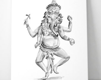 Ganesha Art  - zen watercolor - giclee print - Ganesha painting - black ink - Hinduism art - Hindu elephant God- Ganesha illustration