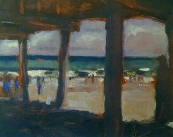 Seascape impressionist plein air painting by American expressionist J Greg Sultan