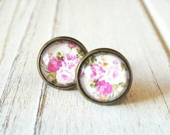 Floral Stud Earrings, Vintage Inspired, Pink, Floral Studs, Floral Earrings, Floral, Antique Bronze Earrings, Studs Earrings, Gift for Her