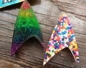 Custom trek communicator/badge tie tack in Rainbow glitter, sprinkles, to Engineering Red, Command Gold, Medical Blue (trekker/trekkie)