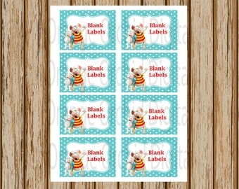 INSTANT DOWNLOAD- Toopy and Binoo Labels- 8 Pack- Blank Buffet Labels-Treat Bag Labels-Stickers- 8.5 x 11 size- Print Your Own- Digital