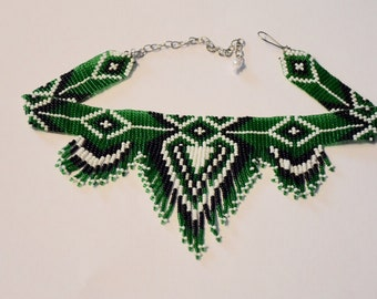 Native American Style Choker Beaded Choker Necklace, Seed Bead Necklace, Folk Necklace, Bib Necklace, Green Necklace