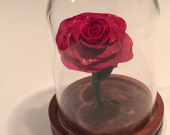 Free Shipping, Beauty and the Beast Rose, Beauty and the Beast wedding, Forever rose, Enchanted Rose, Fairytale Rose, Red Rose, glass rose