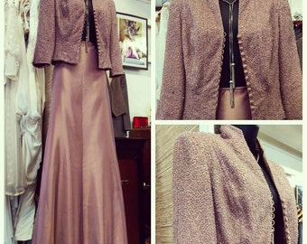 Pink Sequin After Five Suit by Carmen Marc Valvo