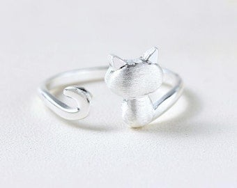 sterling cat ring, cat ring, cute cat ring, 925 sterling silver cat ring