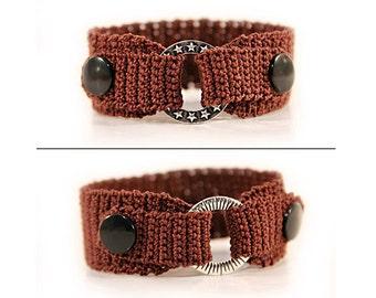 snap bracelet - exchangeable jewelry - two in one - charm bracelet - brown bracelet - fiber bracelet - woven bracelet - snap jewelry
