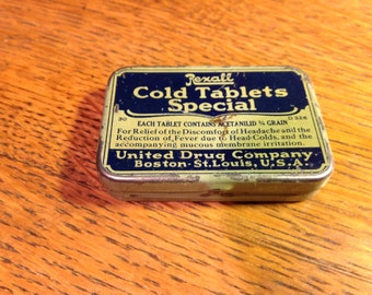 Vintage Medicine Rexall Cold Tablets Special Tin