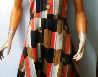 Vintage 1970s Hand Made Crazy Geometric Print Halter Dress