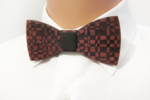Wooden Bow Tie CHECKERS Purple Heart Wood Self Tie Bow