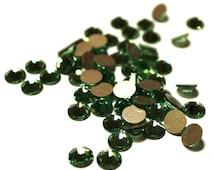 60 Green Swarovski Crystals, Flat Back Crystals, Foil Backed Swarovski Crystals, Green Crystals, Swarovski Cabochons, Green Cabochons
