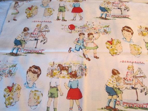 Alexander henry state fair fabric retro children retro boy for Retro childrens fabric