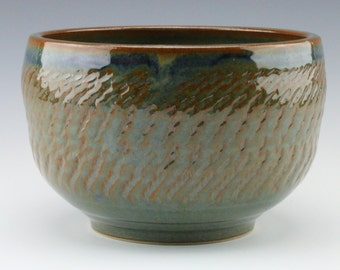 Chattered Ceramic Serving Bowl with Blue Brown Glaze