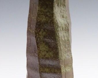 Kazegama Fired, Ash Glazed, Faceted Stoneware Clay Vase