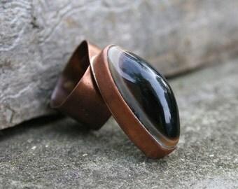 copper ring, onyx ring, gemstone ring, handmade ring, raw ring, oranic ring, statement ring, adjustable ring, black onyx gemstone, OOAK