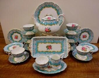 Superb Royal Albert ENCHANTMENT Tea Set For Six 21 Pieces For Tea Party