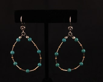 Turquoise Earrings with Hill Tribe Silver