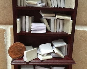 Dolls house miniature books, vintage style job lot of 60 crem and white books