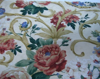 """Vintage Waverly Fabric, Floral Design, 100% Cotton, Screen Print, 54"""" Wide. 68"""" Long, Never Used, Cream, Burgundy, Blue,  Brown, Made In USA"""
