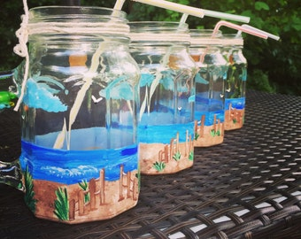 Beach Mason Jar Mugs Handpainted