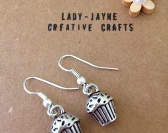 Silver-plated dangle Cupcake earrings. Cupcake lover. Cafe. Baking. Novelty gift.