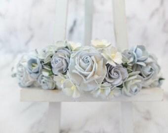 Light dusty blue flower crown - wedding hair accessories - head wreath - headpiece - garland -woodland
