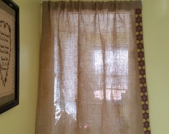 Burlap Curtains / Cafe Curtains, Rustic Burlap Curtains, Natural Jute Curtains, Natural color burlap curtains