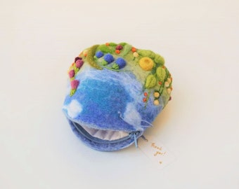 Coin Purse Felted Gift for Her Zipper Pouch Embroidery Purse Change Purse